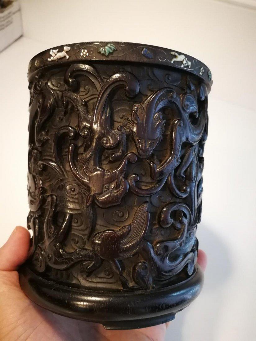 Rare Antique Chinese Zitan Carving Brushpot - 6
