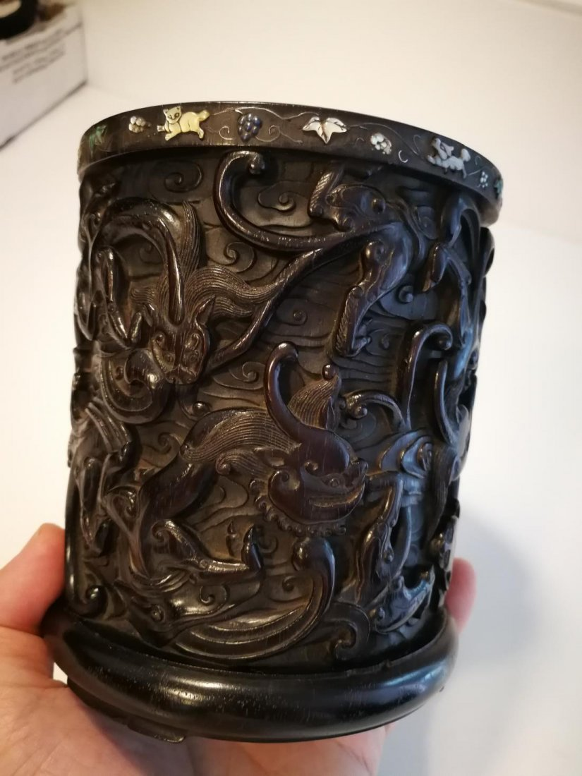 Rare Antique Chinese Zitan Carving Brushpot - 7