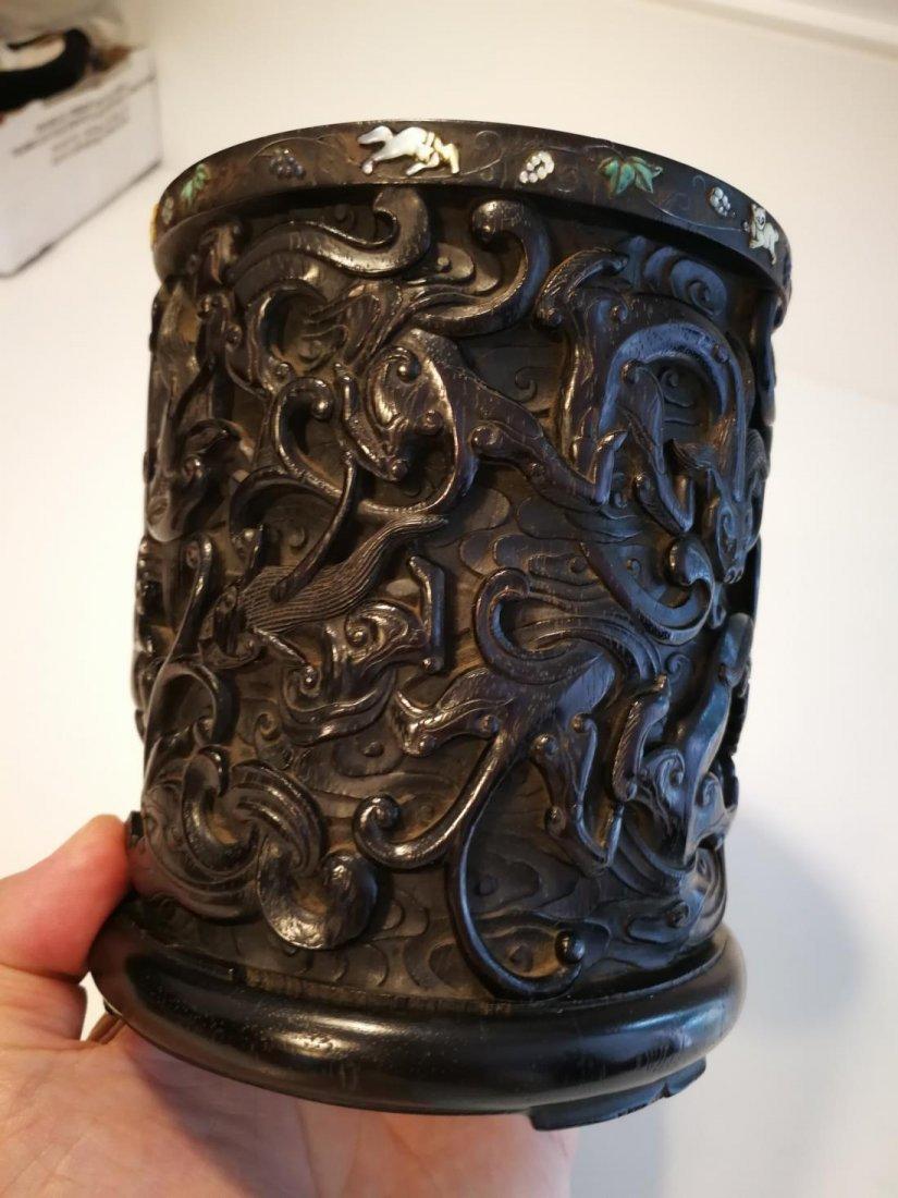 Rare Antique Chinese Zitan Carving Brushpot - 8