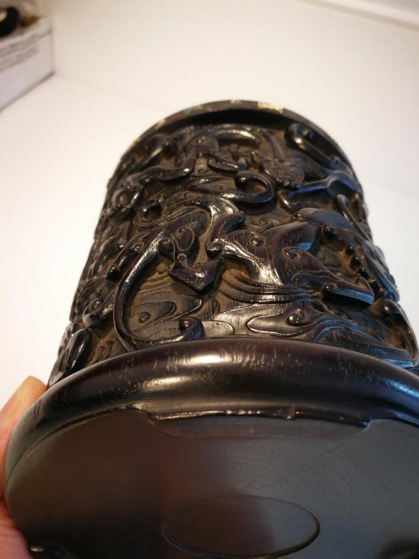 Rare Antique Chinese Zitan Carving Brushpot - 9