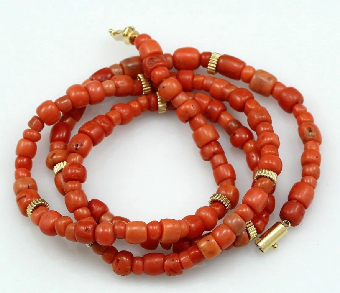 A Coral and 14K Gold Beads Necklace
