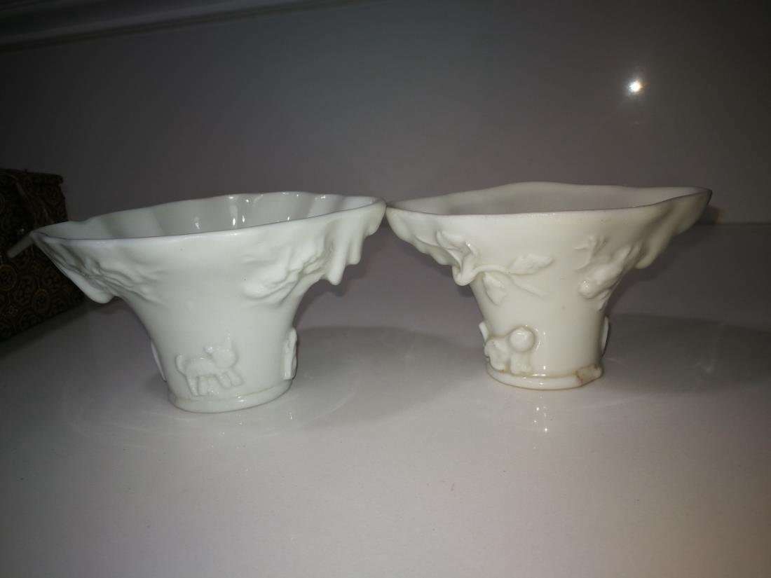 Pair of Antique Chinese White Dehua Porcelain Cups - 2