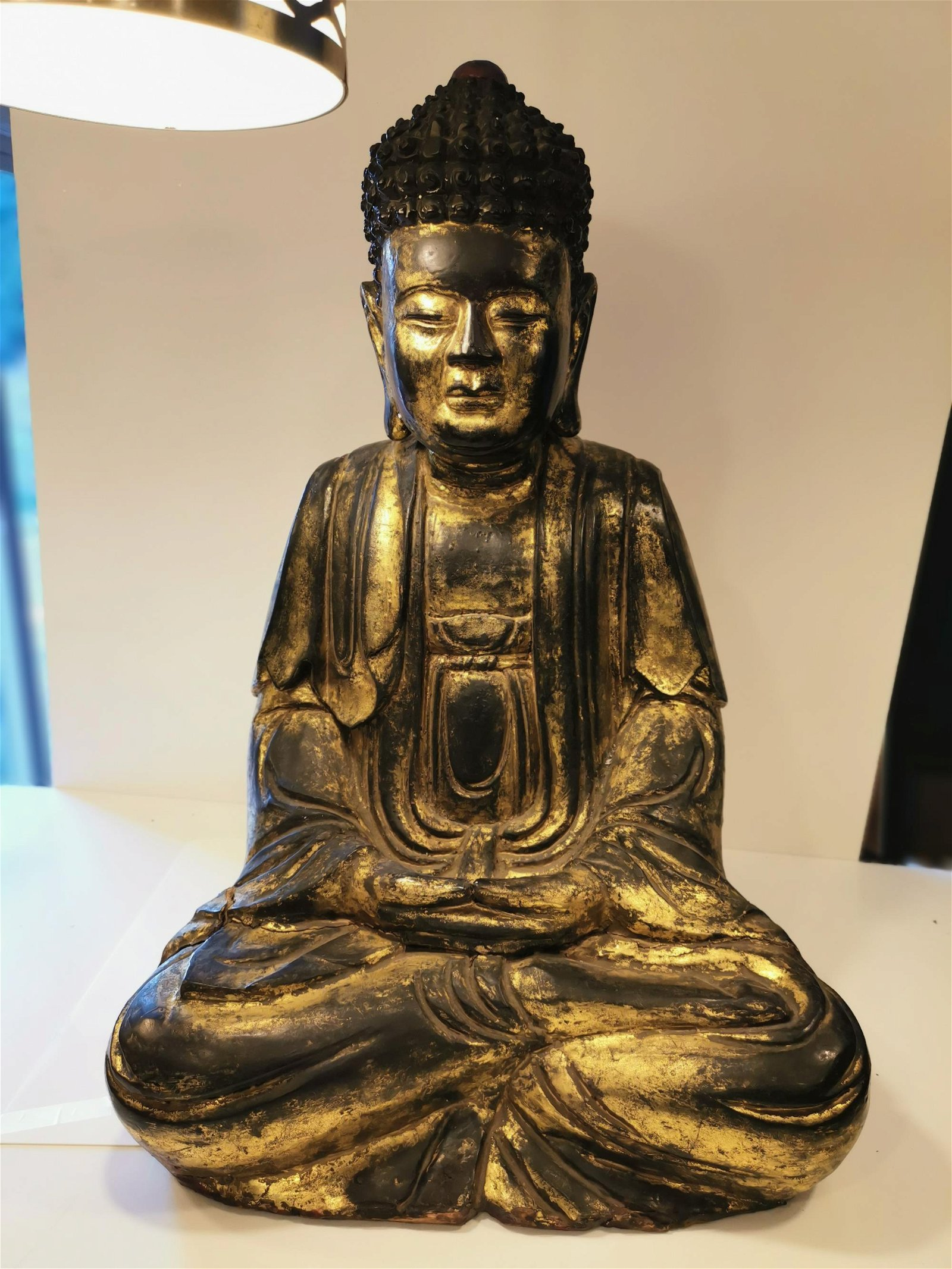 Antique Vietnamese Wood Carving Lacquered Gold Buddha