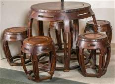 Chinese Rosewood Inlaid Sakuragi Table Five Drum Stools
