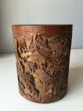 Chinese Bamboo Carving Landscape Brush Pot
