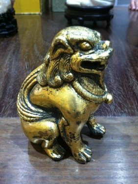 A Chinese Gilt Bronze Figures Of Buddhistic Lions