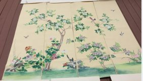 4 Chinese Export Watercolor Wallpaper Painting