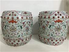 Pair of Chinese Famille Porcelain Drum Stool