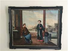 Chinese Trade Oil Painting GuangZhou Family in Yard