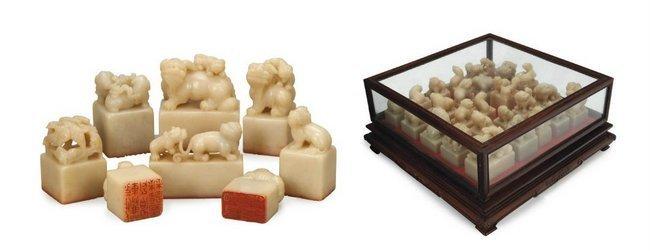 Set of Twenty-Five Chinese Soapstone Seals in Wood Case