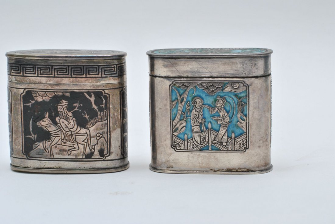 TWO CHINESE SILVER  BOX
