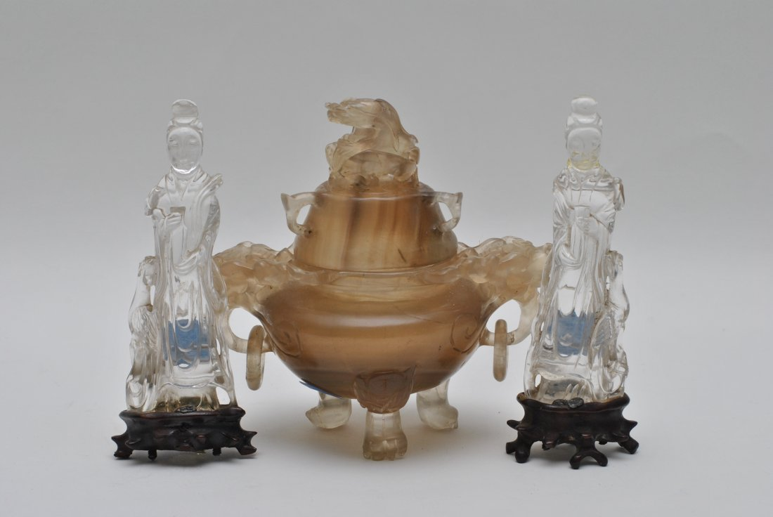 ASIAN CHINESE AGATE CENSER AND CARVED  CRYSTAL LADY
