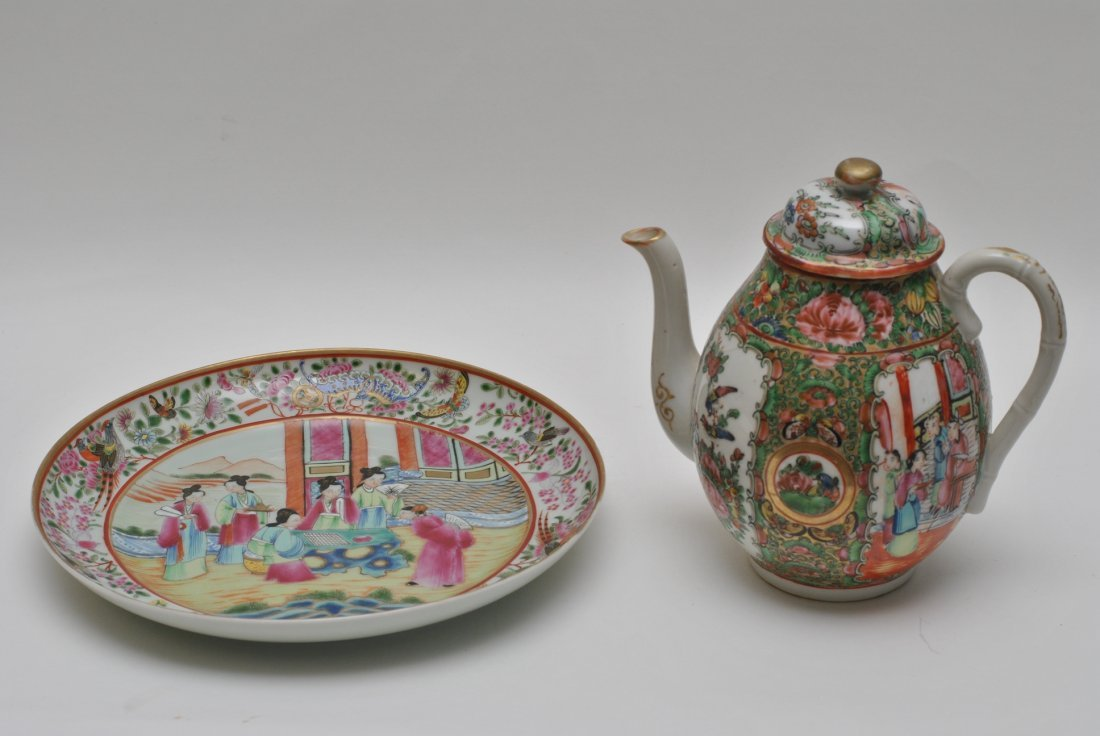 CHINESE ROSE MEDALLION TEAPOT AND PLATE