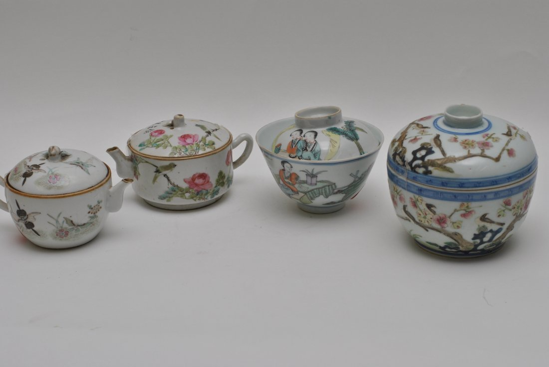 FOUR CHINESE PORCELAIN TEAPOT AND CUPS