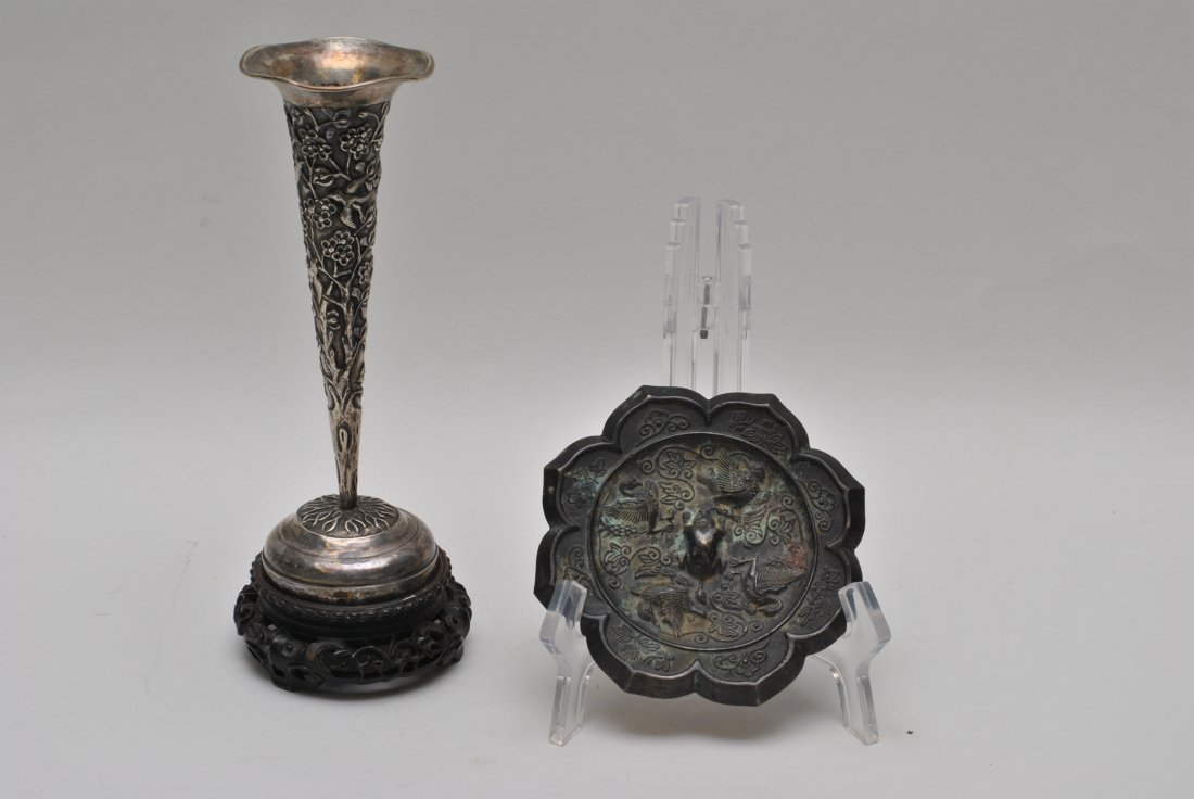 CHINESE BRONZE MIRRORS AND SILVER WITH STAND