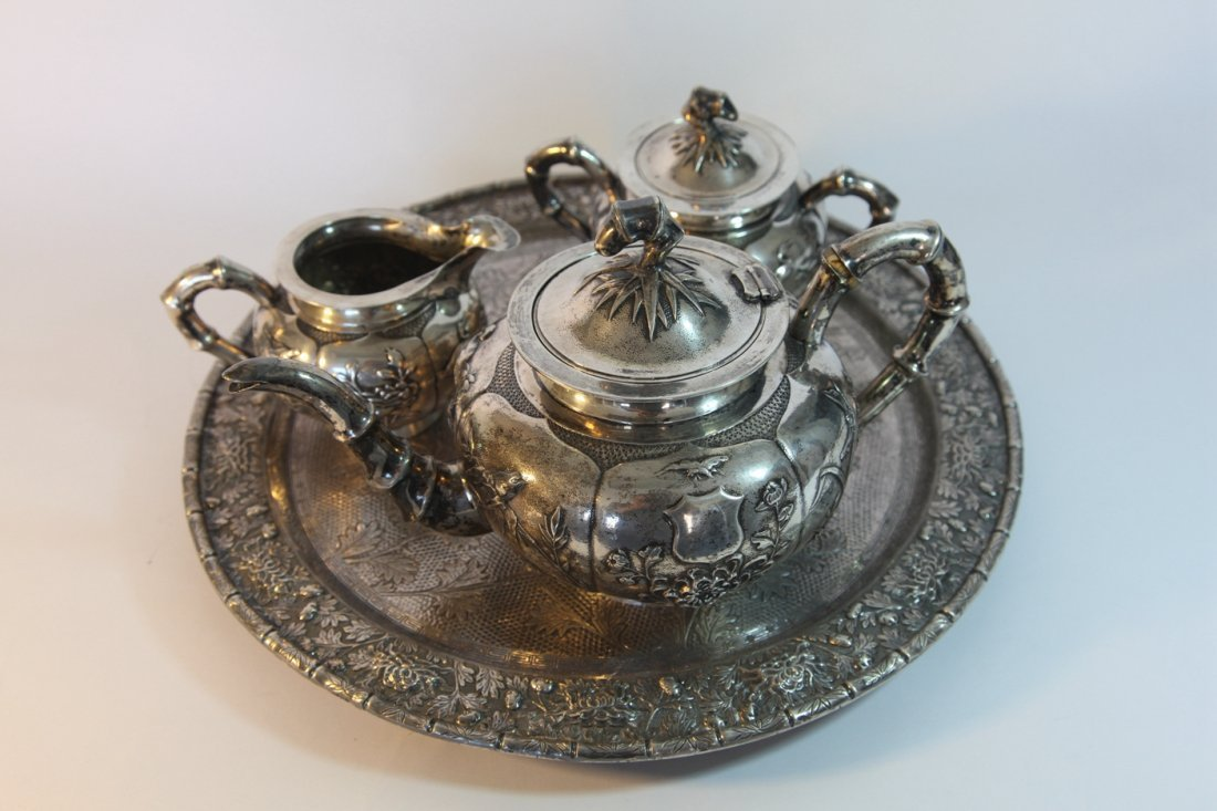 Chinese silver tea set with plate