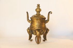 Antique Chinese Gold Gilted Elephant Bronze Censer