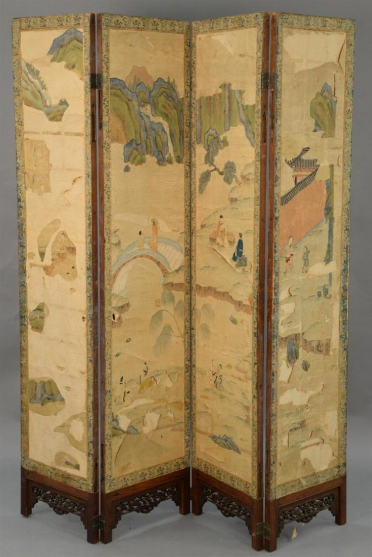 Lager Chinese antique silk and hardwood folding screen
