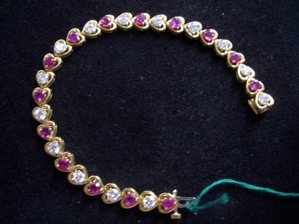 3: Diamond/Burmese Rudy Bracelet Burmese Rubies 4.55tcw