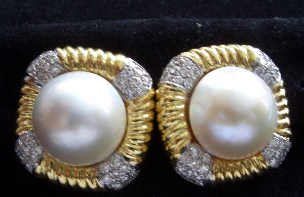 6: Classic Mabel Pearl/Diamond/Gold Earrings round diam