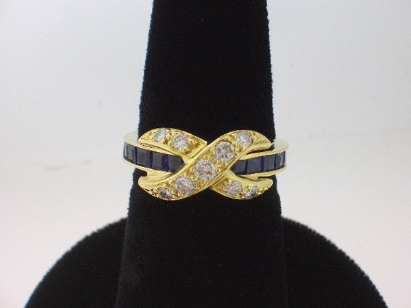106: Jean Schlumberger Style Diamond and Sapphire Ring