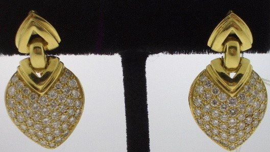 107: Bulgari Style Diamond and Gold earrings