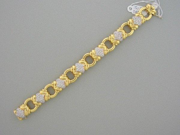 119: Bulgari Style Diamond and Gold Bracelet
