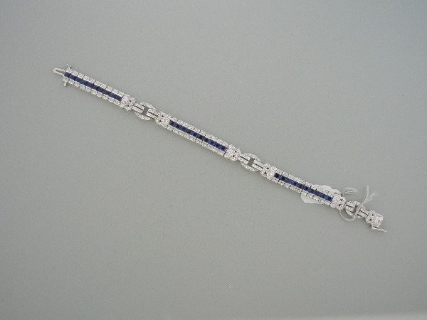 124: Deco Style Diamond and Sapphire Bracelet
