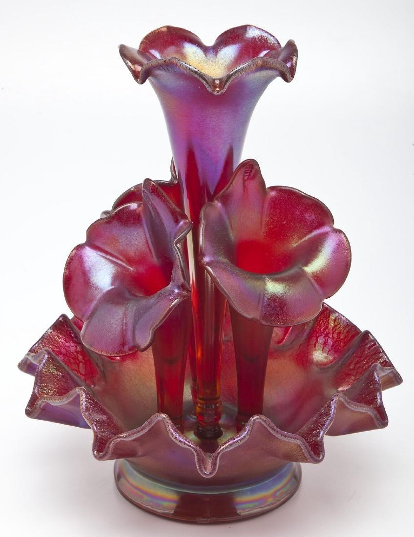 Fenton Purple Stretch Glass Epergne