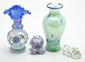 4 Pcs Fenton incl. Glass Messenger Vase