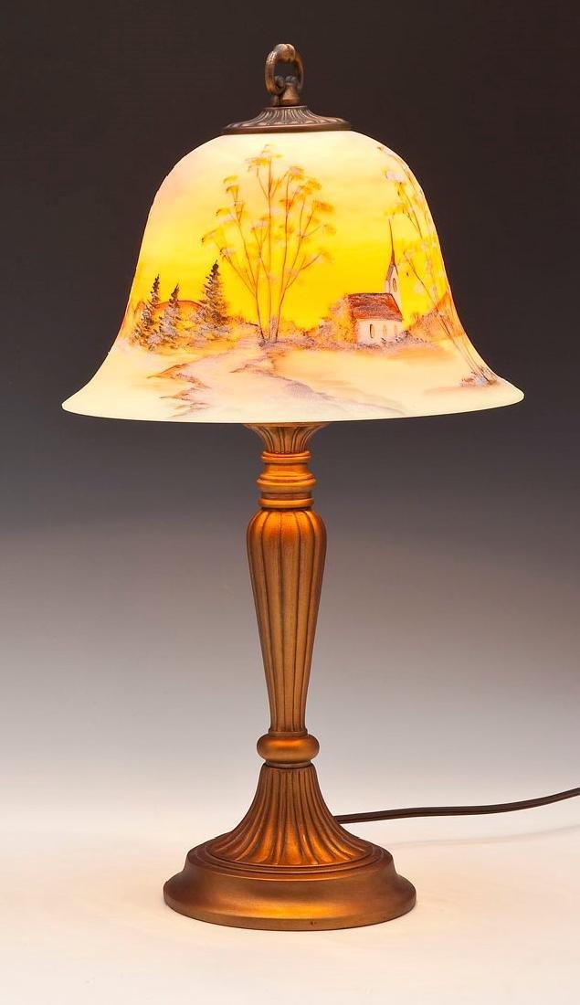 Fenton Custard Scenic Lamp