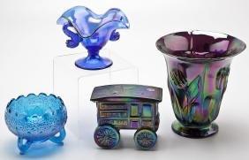 4 Pcs Fenton Carnival Glass incl. Pie Wagon Box