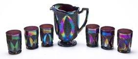 7 Pc Amethyst Carnival Glass Water Set