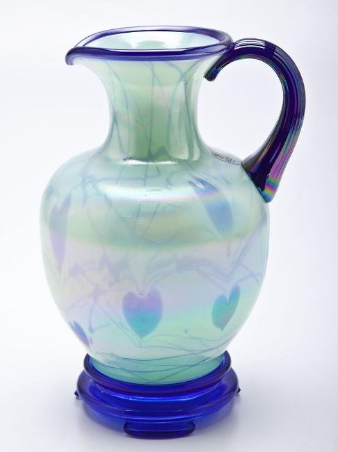 Fenton Dave Fetty Blue Hanging Hearts Pitcher