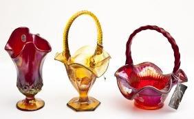 3 Pcs Fenton Stretch Glass incl. Baskets
