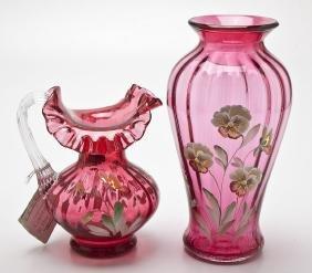 Fenton Pansies on Cranberry Glass Vase & Ewer