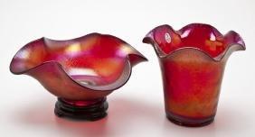 Fenton Red Stretch Glass Bowl & Vase