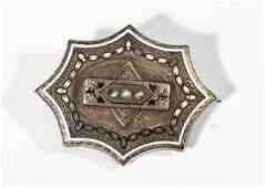 Victorian Enamel & Seed Pearl Pin/Pendant