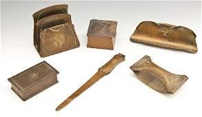 6 Pc Roycroft Hammered Copper Desk Set
