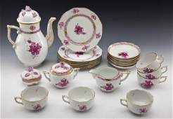 22 Pc Herend Chinese Bouquet Raspberry Tea Set