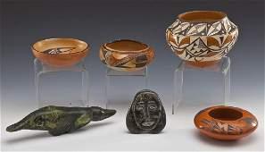 4 Native American Pots & 2 Inuit Carvings