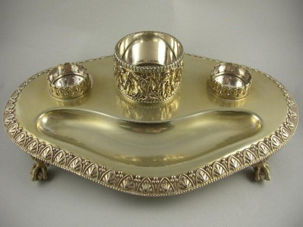 14: Large Silverplated 2 Dip Inkwell