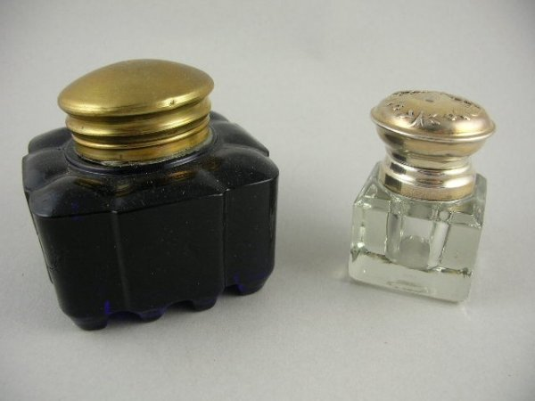 15: 2 Glass Inkwells Cobalt Glass & Sterling Topped
