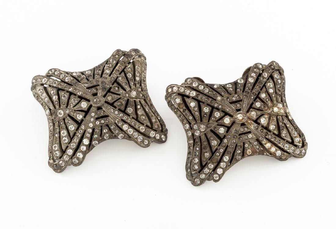 Antique Holfast French Rhinestone Shoe Clips