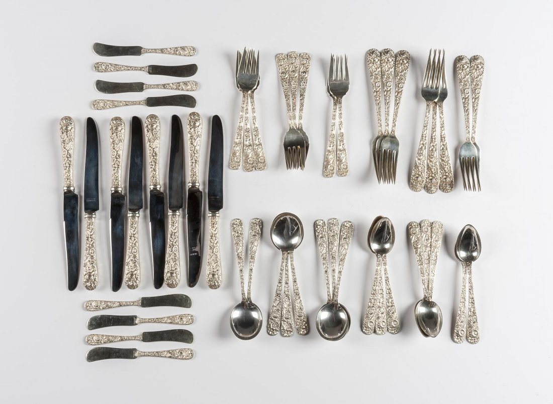 48 Pc S. Kirk Repousse Sterling Flatware Set