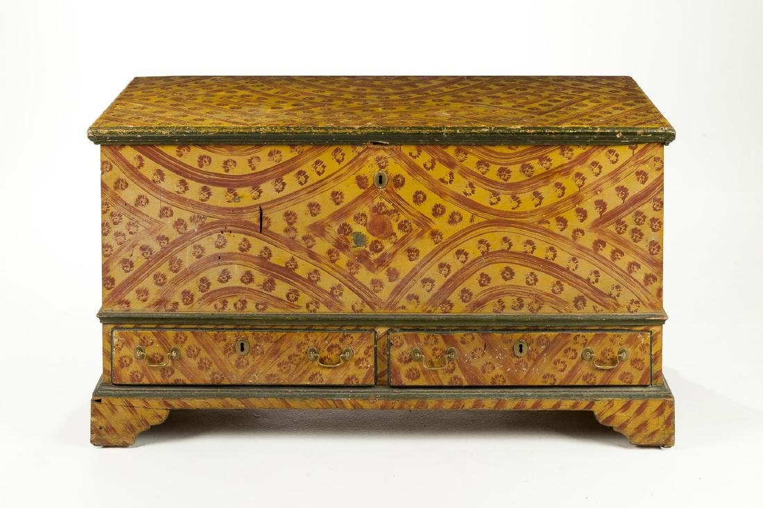 Bucks County Painted Decorated Dower Chest