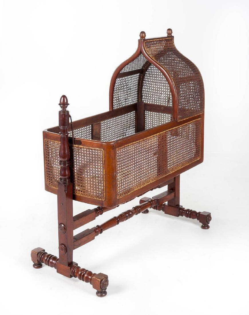 Wm. Smee Victorian Wood & Cane Crib