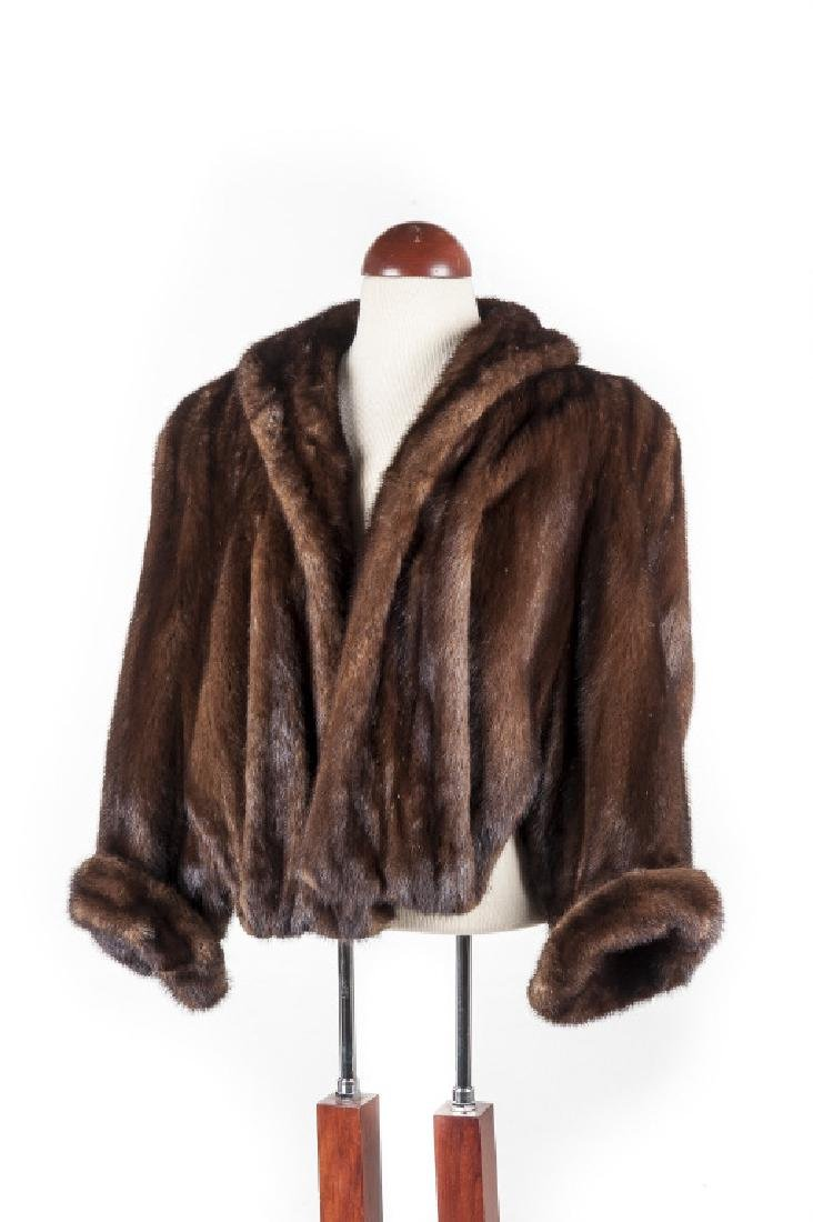 Brown Mink Stole With Cuffed 3/4 Sleeves