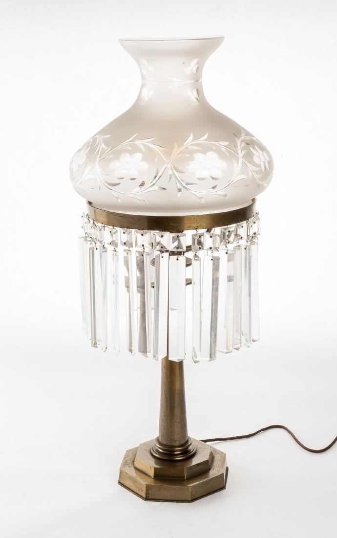 Sunumbra Lamp with Cut Glass Shade