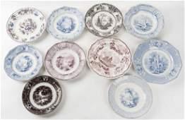 10 Ironstone Transferware Plates Incl J. Holland